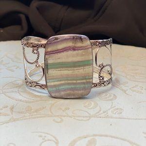 Fluorite bangle bracelet adjustable healing